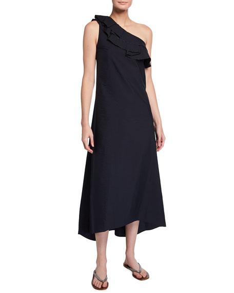 Brunello Cucinelli One-Shoulder Crinkled Cotton Maxi Dress