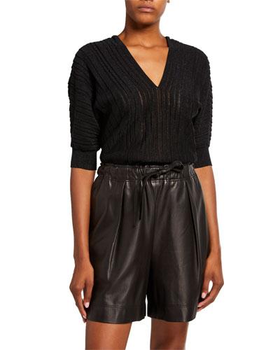 Shimmer Linen V-Neck Dolman-Sleeve Sweater