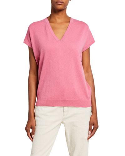 Cashmere Cap-Sleeve V-Neck Sweater
