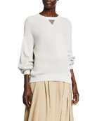 Brunello Cucinelli Monili V-Stitch Metallic Ribbed Sweater and