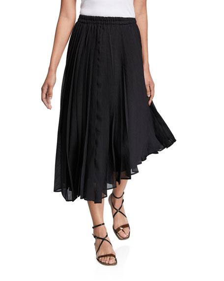 Brunello Cucinelli Pleated Organza Asymmetric Skirt