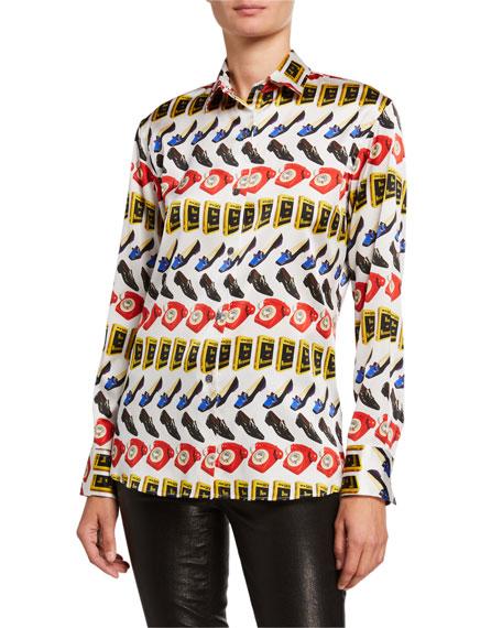 Libertine Being & Nothingness Printed Silk Shirt
