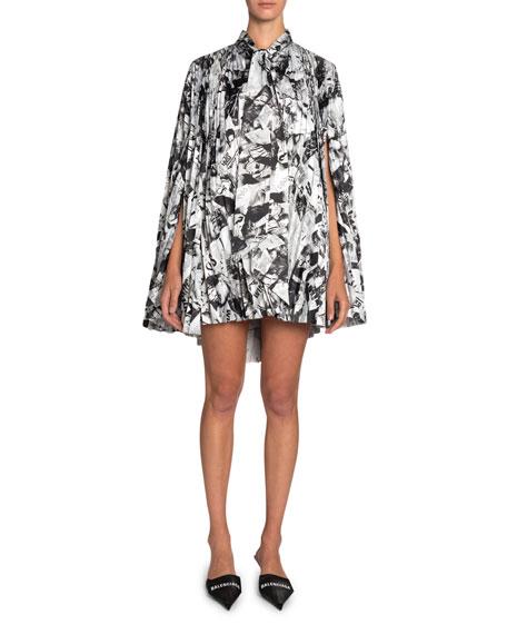 Balenciaga Pleated Tie-Neck Mini Dress