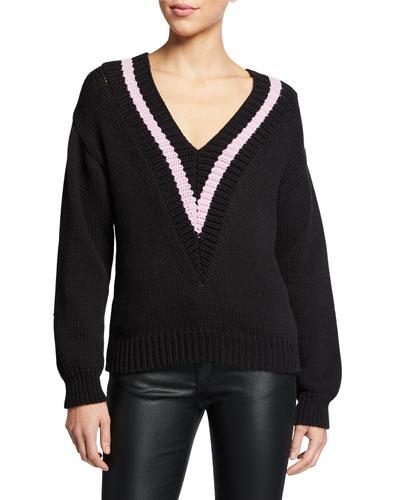 Cotton-Blend Rib Knit V-Neck Polo Sweater w/ Contrast