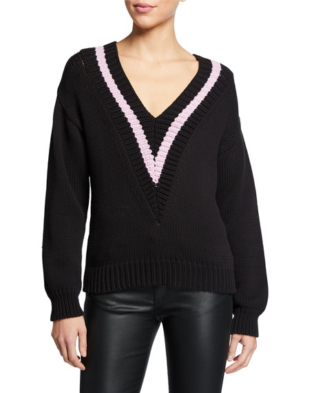 Emporio Armani Cotton-Blend Rib Knit V-Neck Polo Sweater w/ Contrast