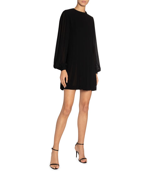 Saint Laurent High-Neck Pleated Mini Dress