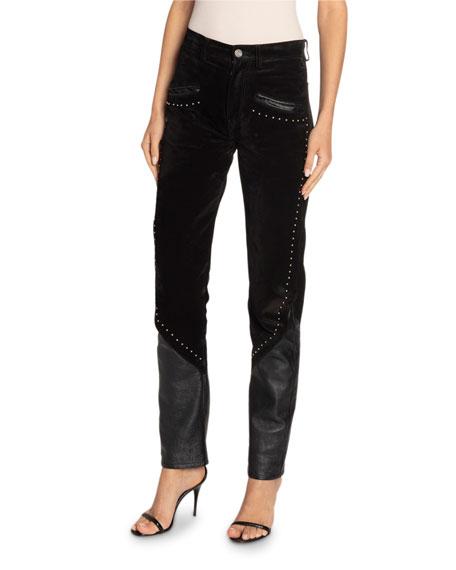 Saint Laurent Studded-Leather Skinny Jeans
