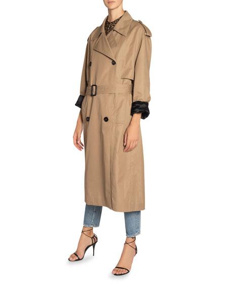 Saint Laurent Cotton-Silk Belted Trench Coat
