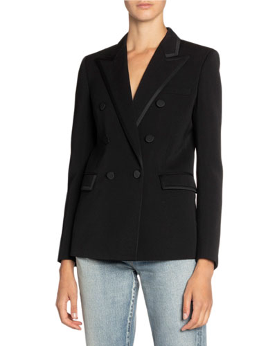 Double-Breasted Satin-Trim Blazer