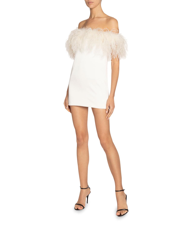 Saint Laurent Dresses MINI FEATHER-CHEST DRESS