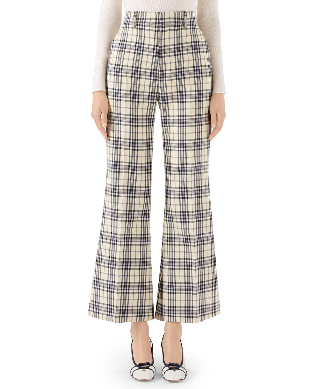 Gucci Pants 70S MADRAS-CHECKED WOOL FARE PANTS