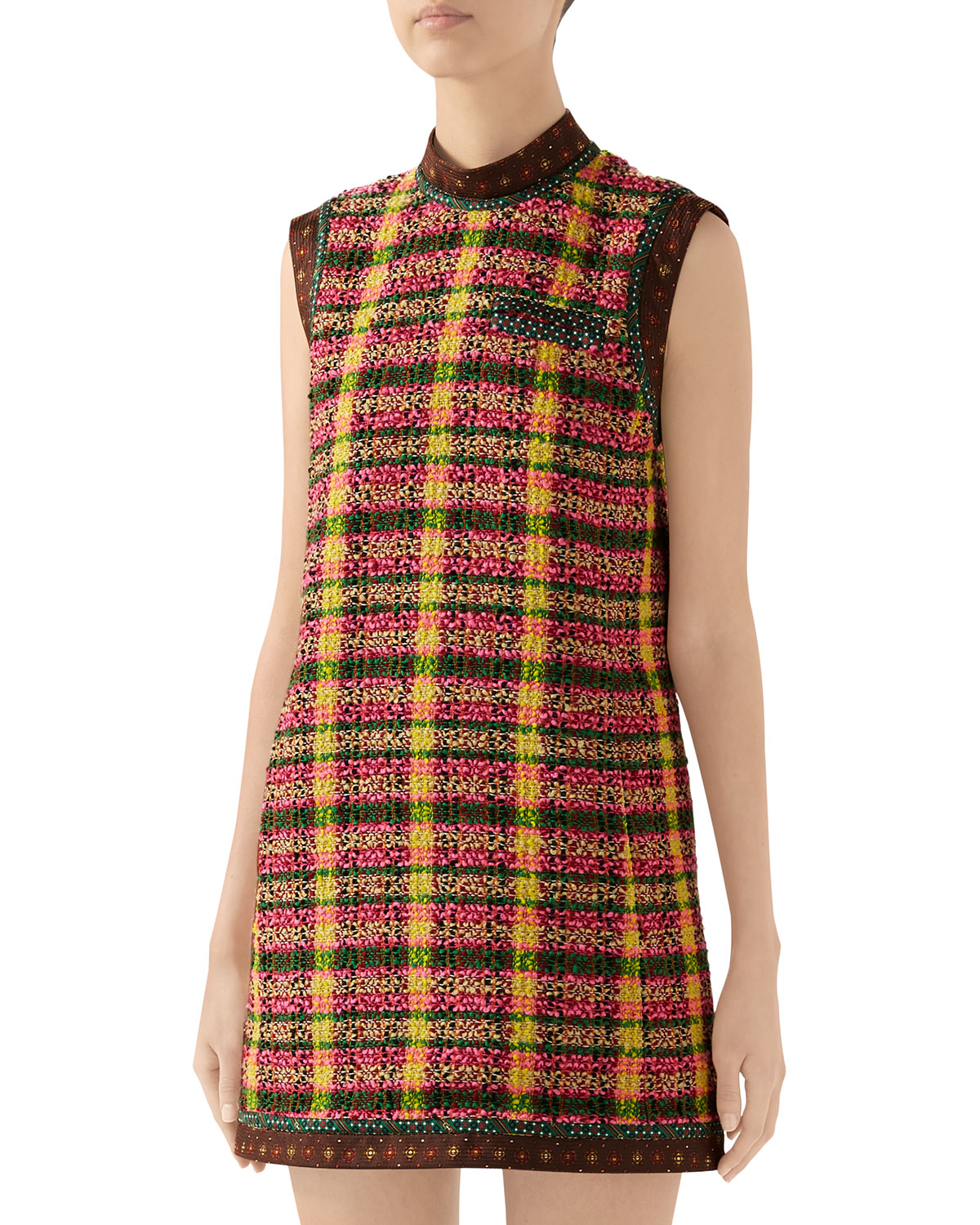 Gucci Dresses CHECKED TWEED SHIFT DRESS