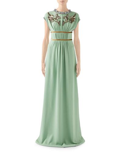 Cap-Sleeve Embroidered-Jersey Crewneck Dress