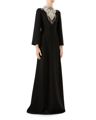 3/4-Sleeve Bejeweled High-Neck Gown