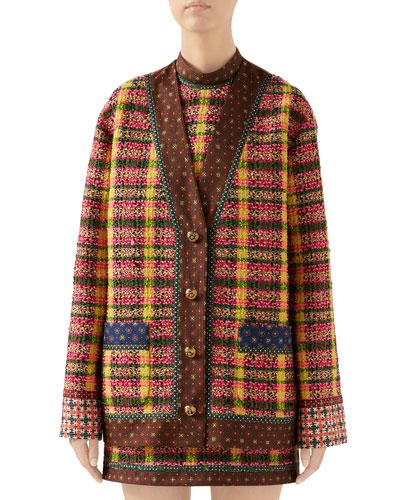 Check Tweed Jacket with Silk Trim