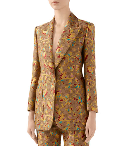 GG Ramage Wool-Silk Blazer Jacket