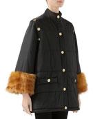Gucci Nylon Jacket with Faux Fur Cuffs