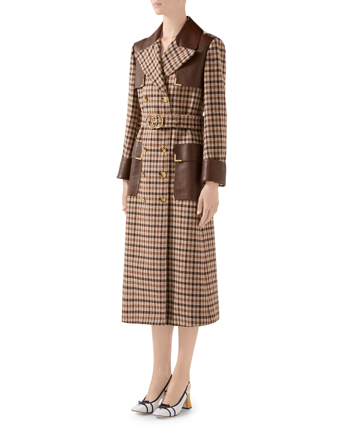 Gucci Coats BELTED CHECKED-WOOL TRENCH COAT