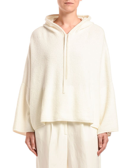 Agnona Cashmere-Cotton Terry Hooded Sweater