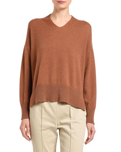 Cashmere V-Neck Slit-Side Sweater, Brown