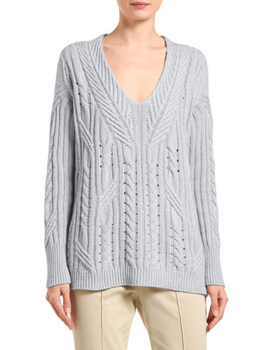 Cashmere-Linen Scoop-Neck Sweater
