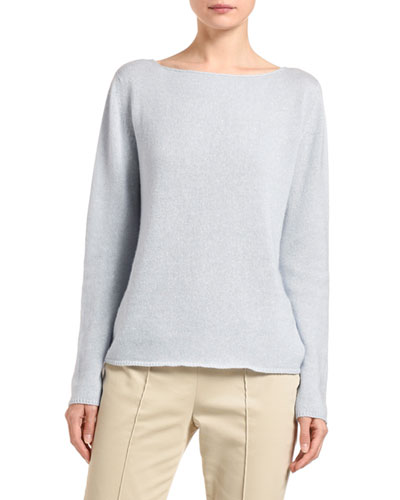 Cashmere-Linen Boat-Neck Sweater