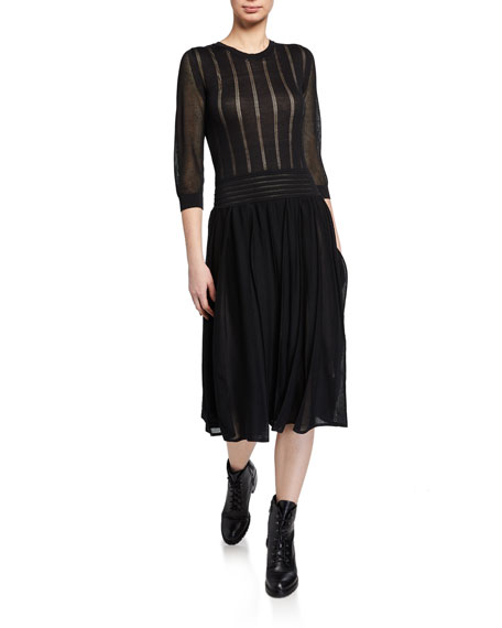 Agnona Pleated Skirt Midi Dress