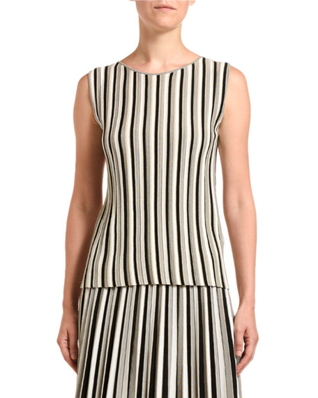 Agnona Striped Cotton-Silk Sleeveless Sweater
