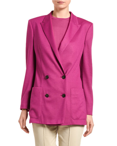 Agnona Cashmere Twill Double-Breasted Blazer Jacket