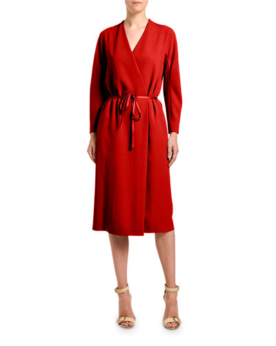 Crepe Long-Sleeve Wrap Dress