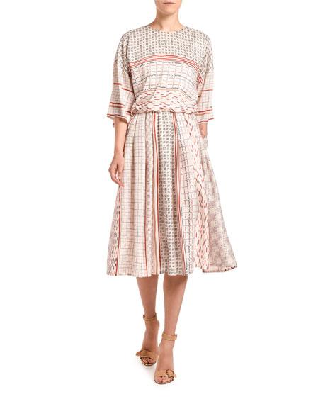 Agnona Foulard-Print Short-Sleeve Dress