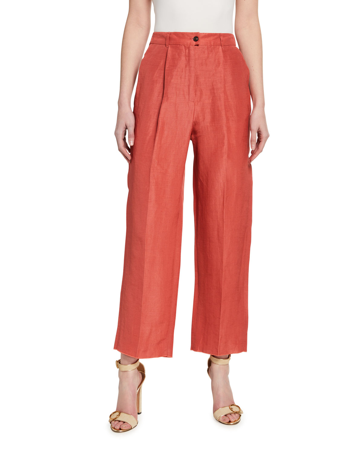 Agnona Pants PLEATED STRETCH-COTTON EASY PANTS