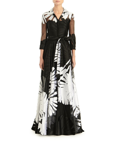 Carolina Herrera 3/4-Sleeve Printed Shirt Gown