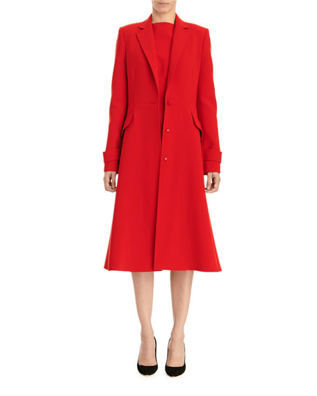 Carolina Herrera A-Line Button-Front Coat w/ Notched Lapels