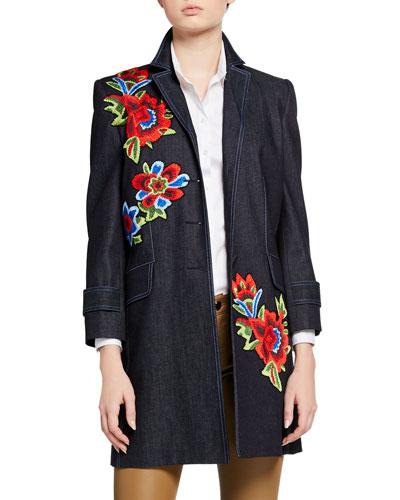 Floral Embroidered 3/4-Sleeve Denim Coat