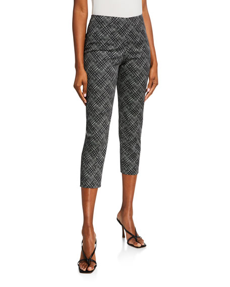 Piazza Sempione Audrey Small-Windowpane Cotton Pants