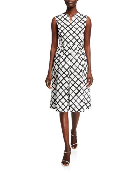 Piazza Sempione Diamond-Print Poplin Midi Dress