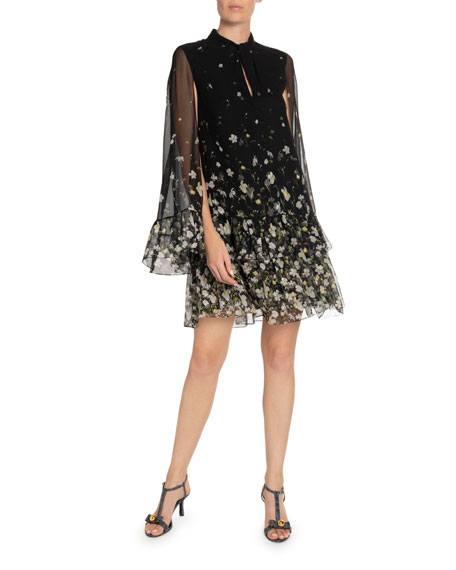 Erdem Concetta Silk Cape Dress