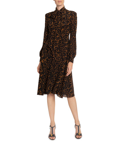 Ravia Leopard-Print Chiffon Tie-Neck Dress
