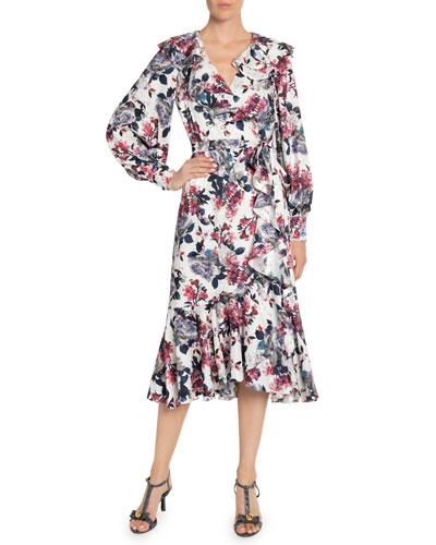 Jerridine Rose Blossom Ruffled Wrap Dress