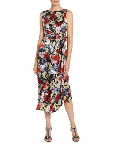 Rozaria Floral-Print Silk Bow-Waist Dress