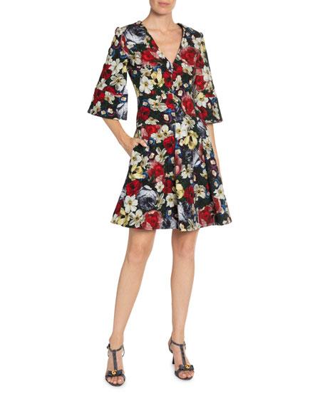 Erdem Yeva 3/4-Sleeve Midi-Length Dress
