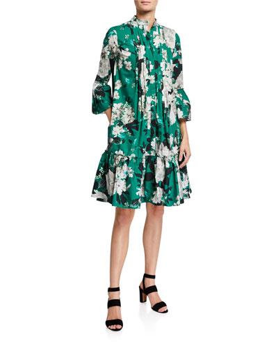 Winford 3/4-Sleeve Floral-Print Dress