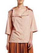 Antonio Marras 3/4-Sleeve Portrait Collar Sateen Shirt