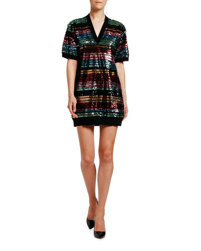 Sequin-Striped Short-Sleeve Tunic