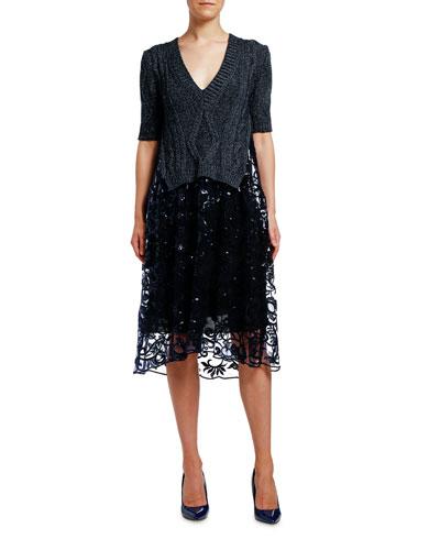 Metallic Ribbed Dress