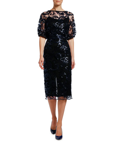 Sequined Lace Puff-Sleeve Dress