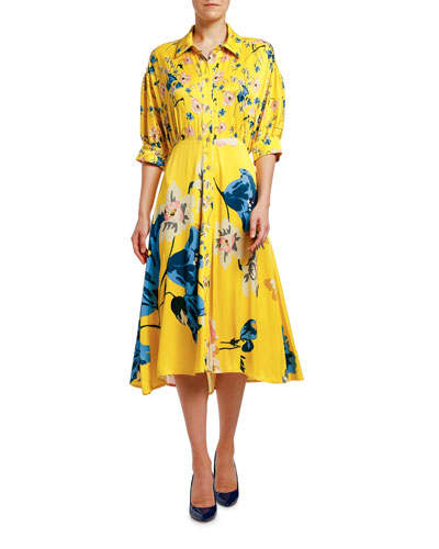 Placed Floral Jersey Puff-Sleeve Shirtdress