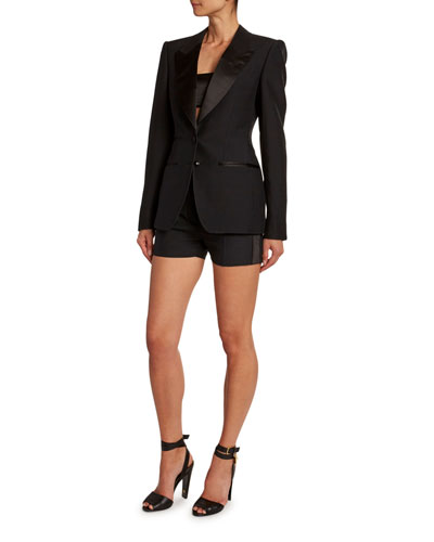 Satin-Trim Wool Tuxedo Jacket