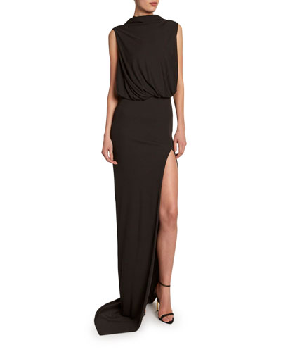 Draped Gown with Open Slim Skirt